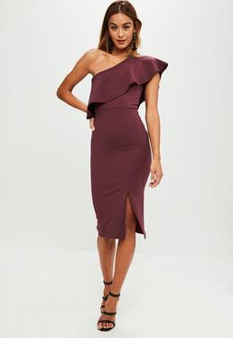 Purple One Shoulder Frill Split Midi Dress