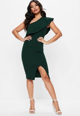 Zielona sukienka midi z falbaną
