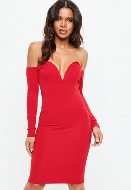 Red V Bar Midi Dress