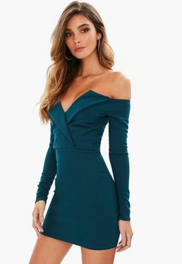 blue bardot foldover wrap dress