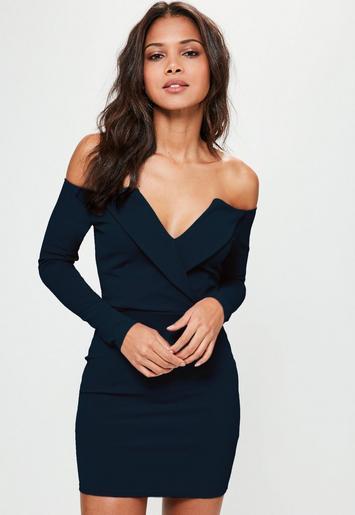 Navy Bardot Foldover Wrap Dress Missguided