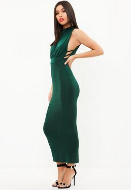 Green Side Strap High Midi Dress
