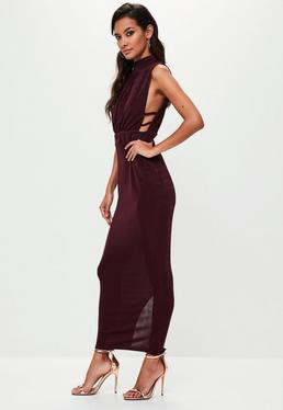 Vestido de cuello alto con tiras laterales en morado
