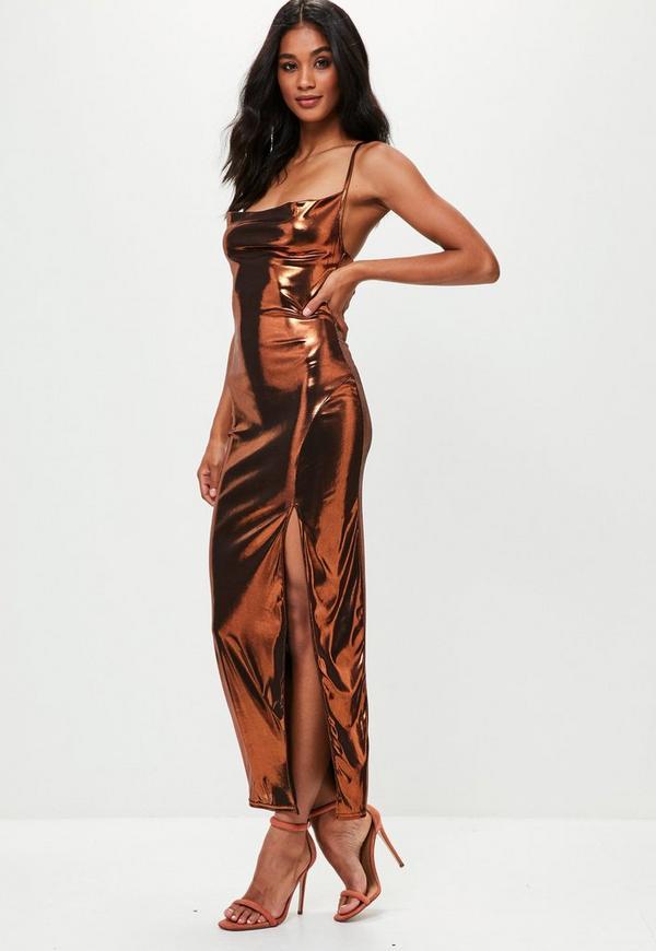 ae16fce2112e Bronze Strappy Foil Maxi Dress Missguided | 2019 trends | xoosha