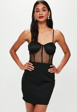 Black Strappy Bust Cup Lace Insert Dress