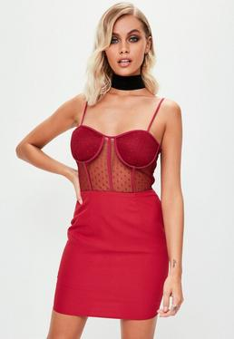 Burgundy Strappy Bust Cup Dobby Lace Bodycon Dress