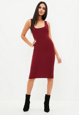 Burgundy Scoop Back Midi Dress