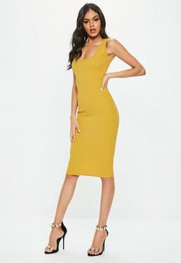 Yellow Square Neck Midi Dress