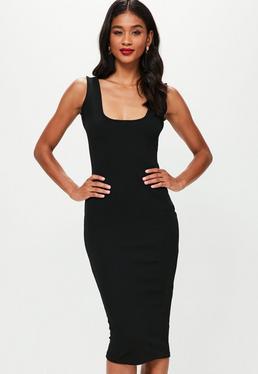 Czarna dopasowana sukienka midi na ramiączkach