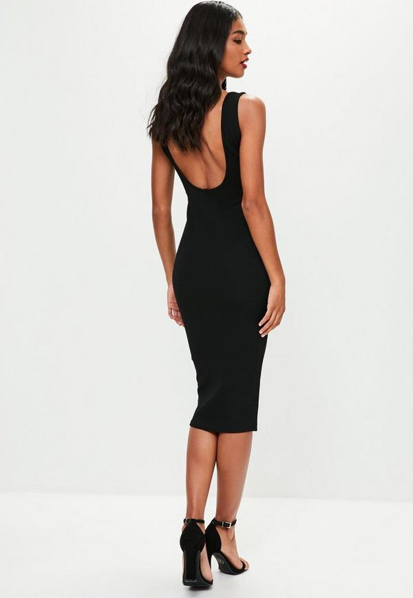 Black Square Neck Open Back Midi Dress Missguided