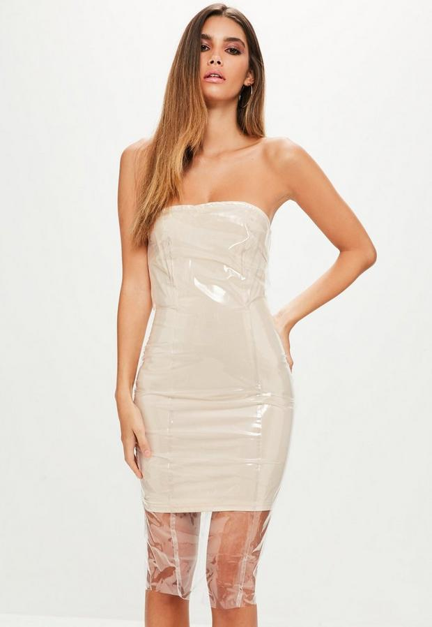 Product photo of Nude clear vinyl bandeau bodycon dress beige