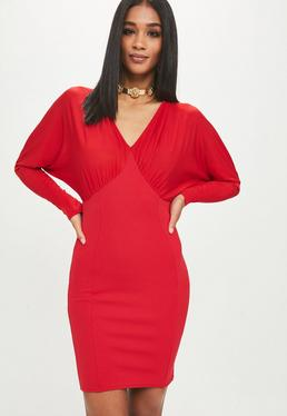 Red Scuba Batwing Mini Dress