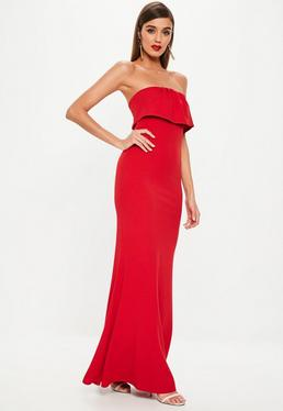 Red Fishtail Bandeau Plated Overlay Maxi Dress
