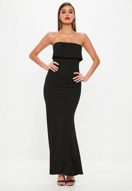 Black Bandeau Plated Overlay Fishtail Maxi Dress