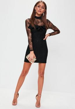 Black Lace Frill Long Sleeved Dress