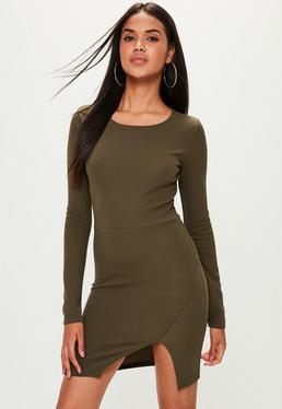Khaki Crepe Split Hem Dress