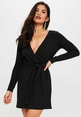 Black Stretch Long Sleeve Plunge Wrap Dress