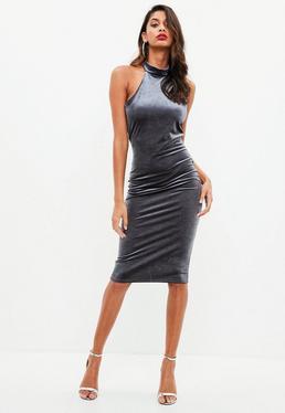 Gray Velvet Sleeveless Midi Dress