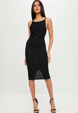 Vestido midi de tirantes con espalda descubierta en negro