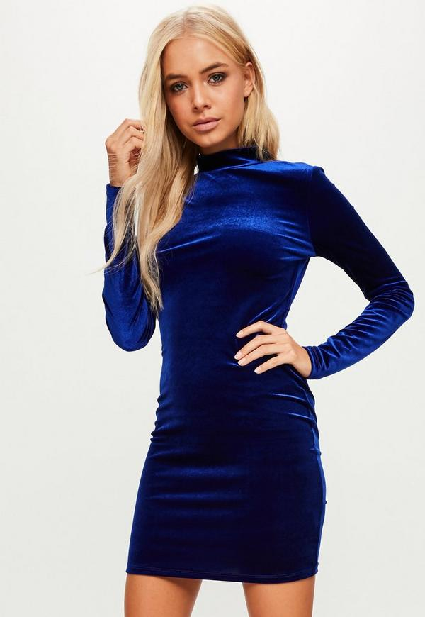 Blue Velvet Mini Dress | Missguided