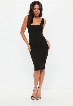 Vestido midi con espalda pronunciada en negro