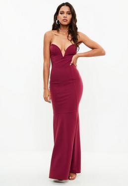 Burgundowa sukienka maxi bez ramiączek