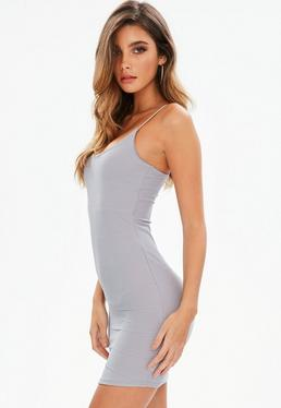 Grey Strappy Scoop Neck Bandage Bodycon Dress