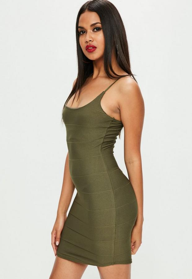 Product photo of Khaki strappy scoop neck bandage bodycon dress beige