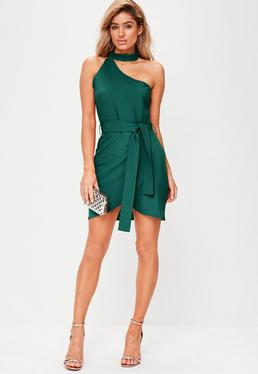 Green One Shoulder Choker Neck Tie Waist Bodycon Dress