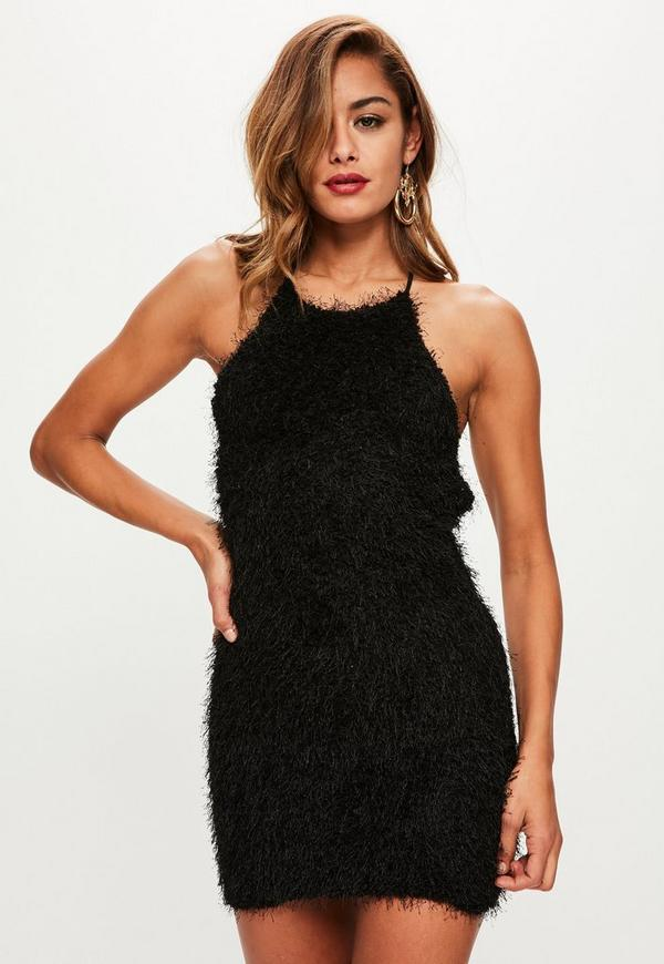 Black Fringe 90s Neck Mini Dress | Missguided Ireland