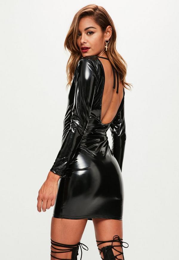 Black Vinyl Scoop Back Long Sleeve Mini Dress Missguided