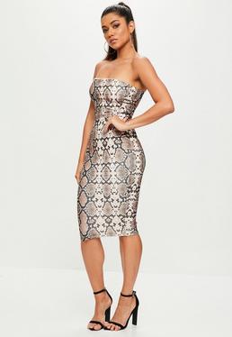 Brown Snake Printed Bandeau Midi Dress