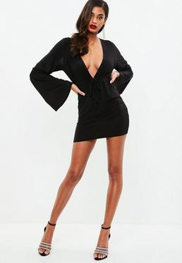 Black Slinky Plunge Flare Sleeved Bodycon Dress