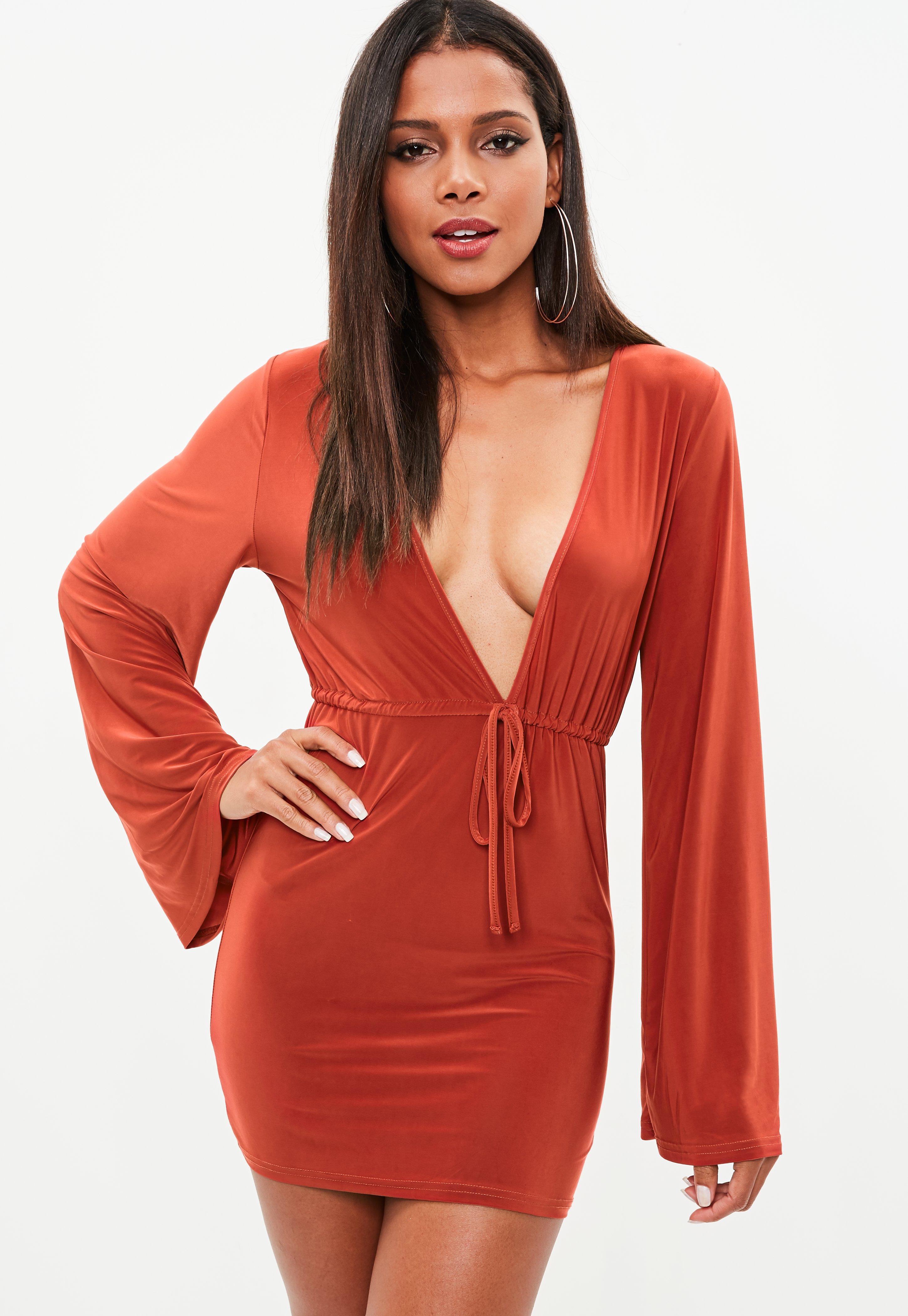 Neon orange dress missguided fashion