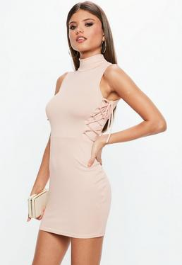 Nude High Neck Lace Up Side Bodycon