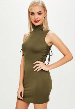 Khaki High Neck Lace Up Side Bodycon Dress