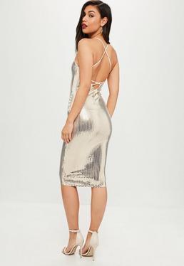 Gold Mirror Strappy Scoop Midi Dress