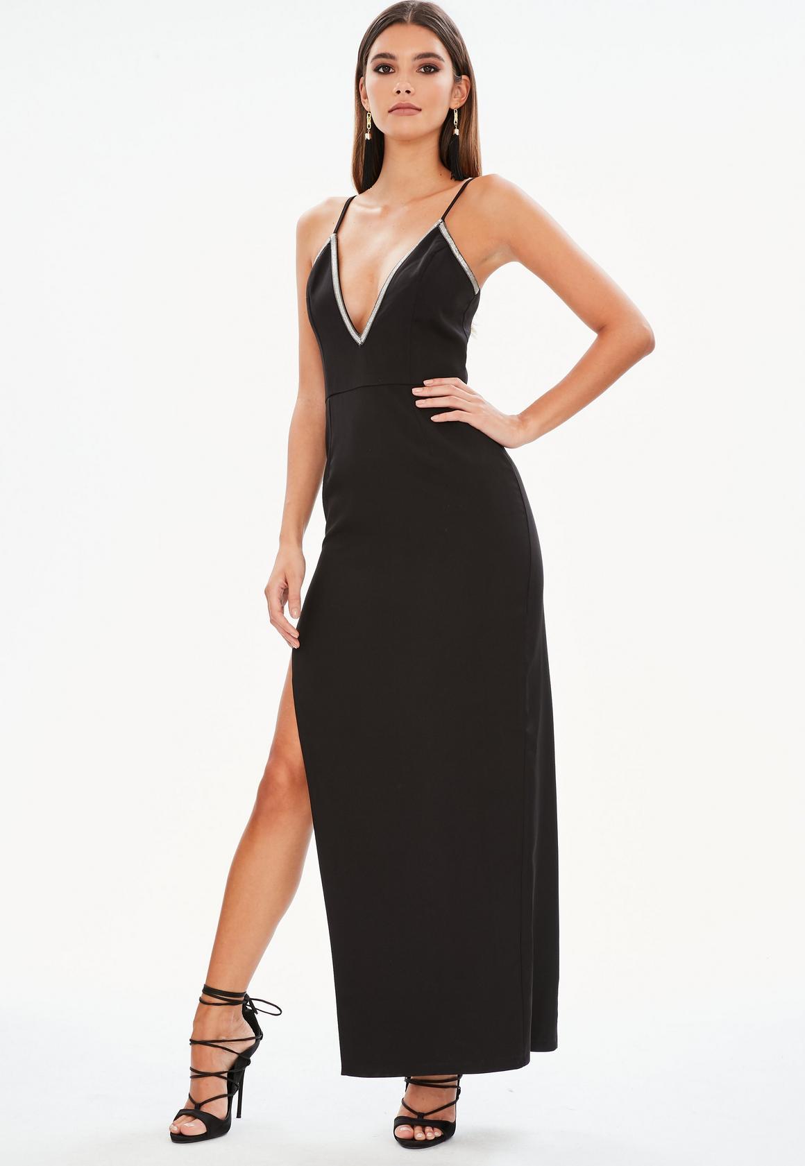 Schwarze lange kleider mit schlitz