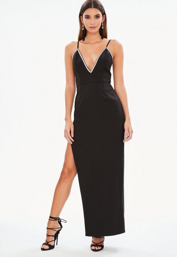 Black Diamante Trim Side Split Maxi Dress Missguided