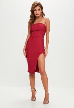 Premium Red Bandage Split Front Midi Dress