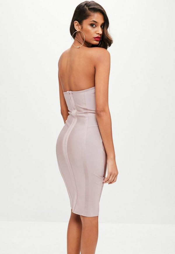 Nude Bandage Bustcup Metal Strap Detail Midi by Missguided