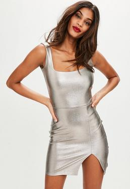 Silver Metallic Square Neck Bodycon Dress