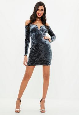Navy Velvet Long Sleeve V Bar Bardot Dress