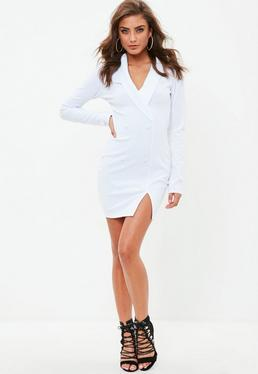 White Crepe Blazer Dress