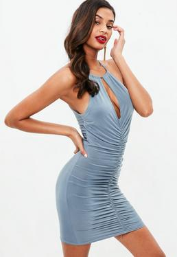 Blue Ring Ruched Bodycon Dress