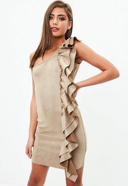 Tan Faux Suede Ruffle One Shoulder Bodycon Dress