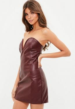 Burgundy Faux Leather V Bar Plunge Bodycon Dress
