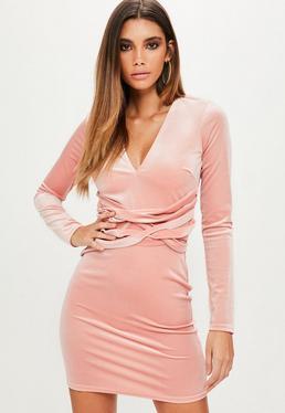Pink Velvet Plunge Long sleeve Bodycon Dress