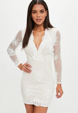 Beige Lace Plunge Dress