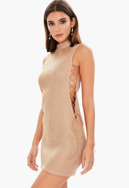 Gold High Neck Lace Up Lurex Bodycon